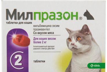 Милпразон для кошек весом более 2 кг 1 таблетка